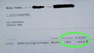 Labortest zur Bestimmung der Antikörper nach 2. Corona Impfung mit Moderna und einem Ergebnis von über 384.00 bei einem Normalwert von unter 25.6.